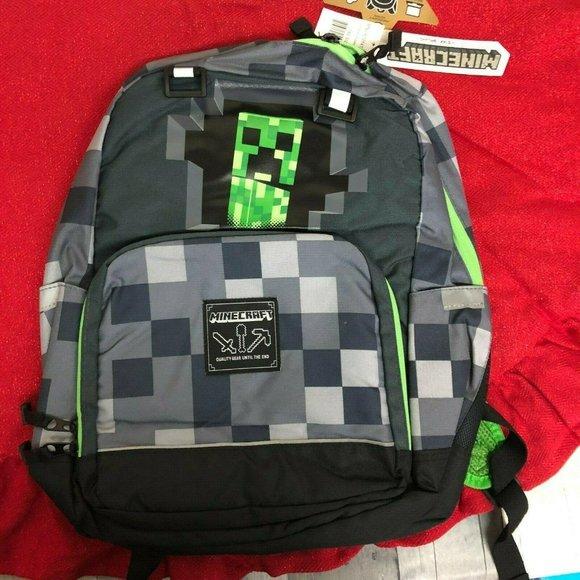 "New JINX Minecraft Creeper Full Size Backpack 17/"" Green Grey"